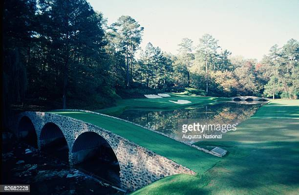 A general view of the twelveth hole Golden Bell with Rae's Creek flowing under the bridges is seen during the 1981 Masters Tournament at Augusta...