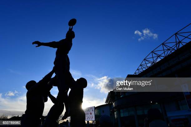 A general view of the Twickenham statues prior to kickoff during the RBS Six Nations match between England and France at Twickenham Stadium on...