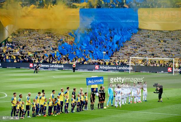 General view of the two teams lined up on the pitch prior to the Danish Alka Superliga match between Brondby IF and FC Copenhagen at Brondby Stadion...