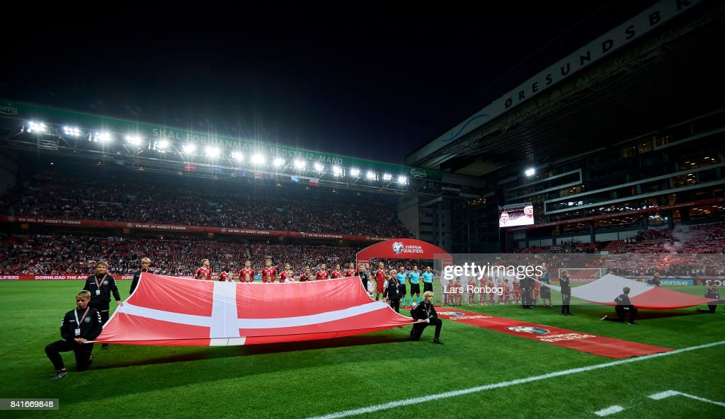 General view of the two teams lined up prior to the FIFA World Cup 2018 qualifier match between Denmark and Poland at Telia Parken Stadium on September 1, 2017 in Copenhagen, Denmark.