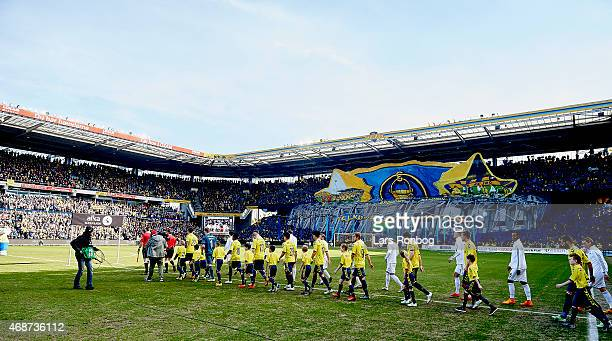 General view of the two teams walking on to the pitch prior to the Danish Alka Superliga match between Brondby IF and FC Copenhagen at Brondby...