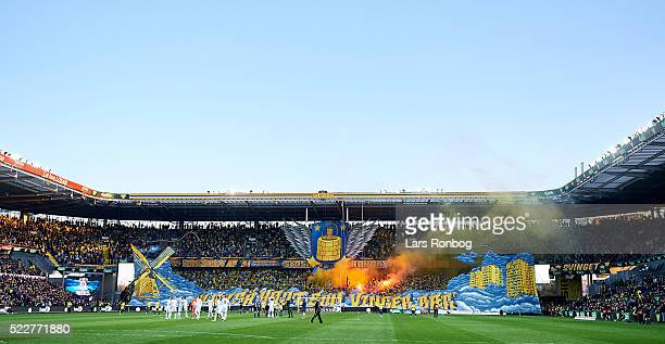 General view of the two teams walking on to the pitch prior to the Danish Cup DBU Pokalen semifinal match between Brondby IF and FC Copenhagen at...