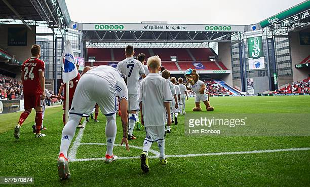 General view of the two teams walking on to the pitch prior to the Danish Alka Superliga match between FC Copenhagen and Lyngby BK at Telia Parken...