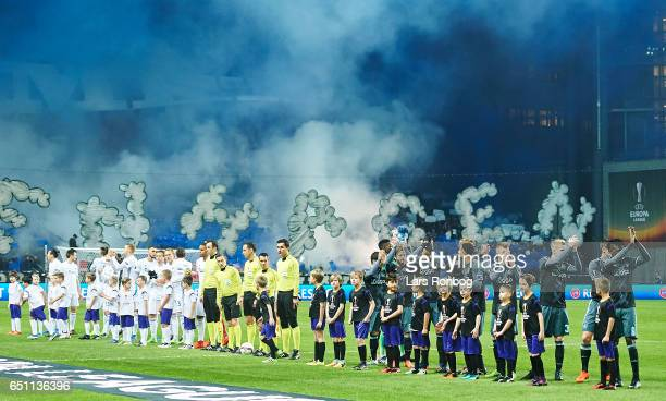 General view of the two teams walking on to the pitch prior to the UEFA Europa League Round of 16 First Leg match between FC Copenhagen and Ajax...