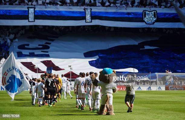 General view of the two teams walking on to the pitch prior to the Danish Alka Superliga match between FC Copenhagen and Sonderjyske at Telia Parken...