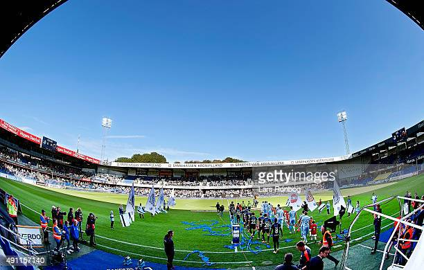 General view of the two teams walking onto the pitch prior to the Danish Alka Superliga match between Randers FC and Hobro IK at BioNutria Park on...