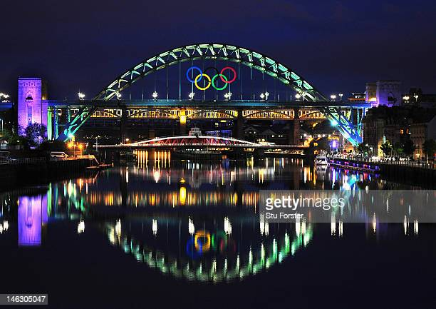 A general view of the Tyne Bridge as the city of Newcastle prepares for the Olympic Torch Relay by displaying the Olympic rings on the famous...