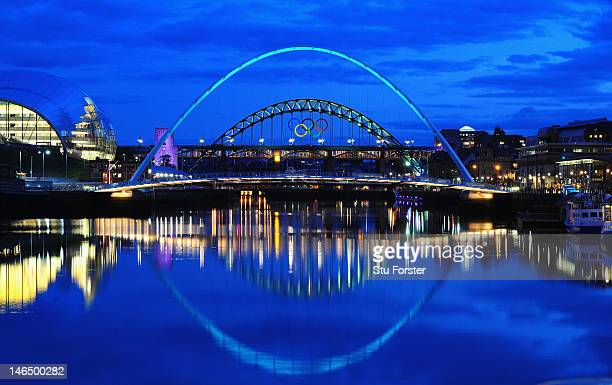 A general view of the Tyne Bridge through the Millennium Bridge as the city of Newcastle prepares for the Olympics by displaying the Olympic rings on...