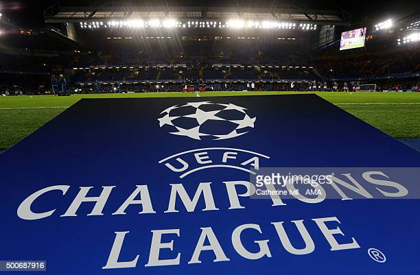General view of The UEFA Champions League logo before the UEFA Champions League match between Chelsea and FC Porto at Stamford Bridge on December 9...