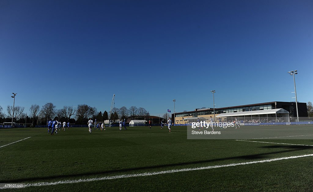 General view of the UEFA Youth League Quarter Final match between Chelsea and FC Schalke 04 at the Chelsea Cobham training ground on March 16 2014 in...