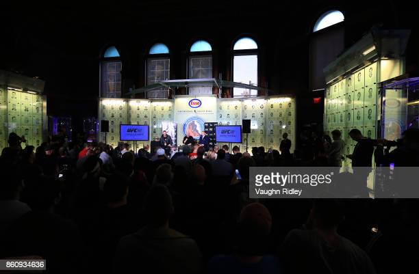 General view of the UFC 217 press conference with Michael Bisping Dana White and Georges StPierre at the Hockey Hall of Fame on October 13 2017 in...