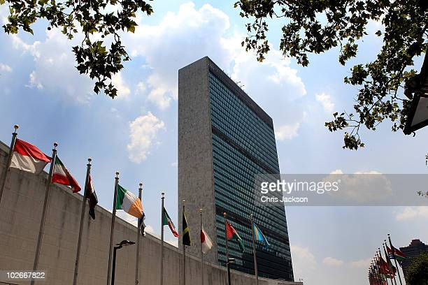 A general view of the UN Headquarters on July 6 2010 in New York City Queen Elizabeth II and Prince Philip Duke of Edinburgh have just completed an...