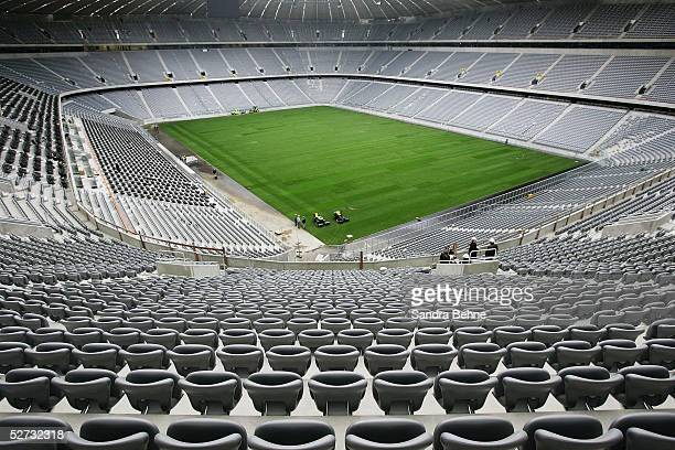 A general view of the unfinished Allianz Arena football stadium on April 18 2005 in Munich Germany The Allianz Arena will be the future home stadium...