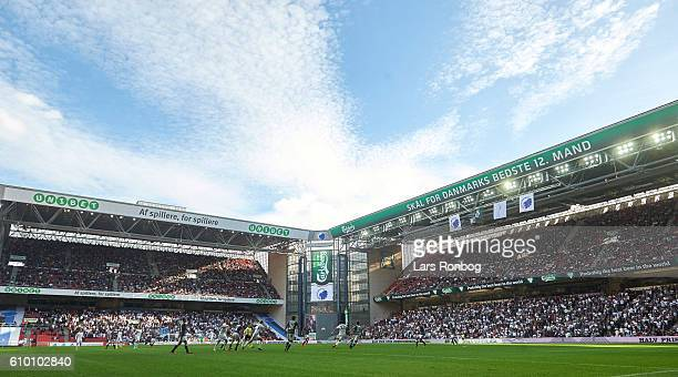 General view of the Unibet and the Carlsberg stand during the Danish Alka Superliga match between FC Copenhagen and AGF Aarhus at Telia Parken...