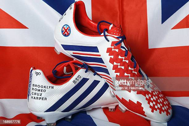 A general view of the unique adidas Predator Lethal Zone boots made by David Beckham online at wwwmiadidascom to celebrate his retirement from...