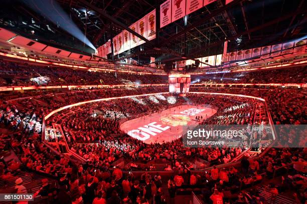 A general view of the UNited Center during a game between the Chicago Blackhawks and the Nashville Predators on October 14 at the United Center in...