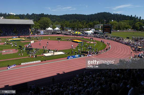 General view of the University of Oreogn's Hayward Field site of the Prefontaine Classic