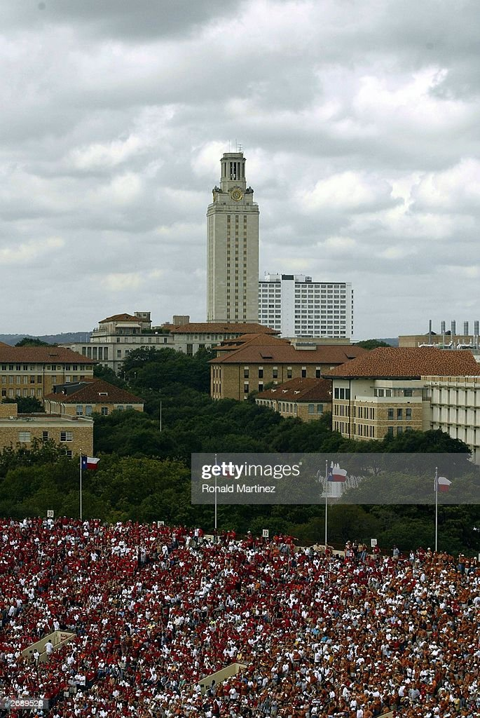 A general view of the University of Texas tower during a game against the Nebraska Cornhuskers and Texas Longhorns at Texas Memorial Stadium on...