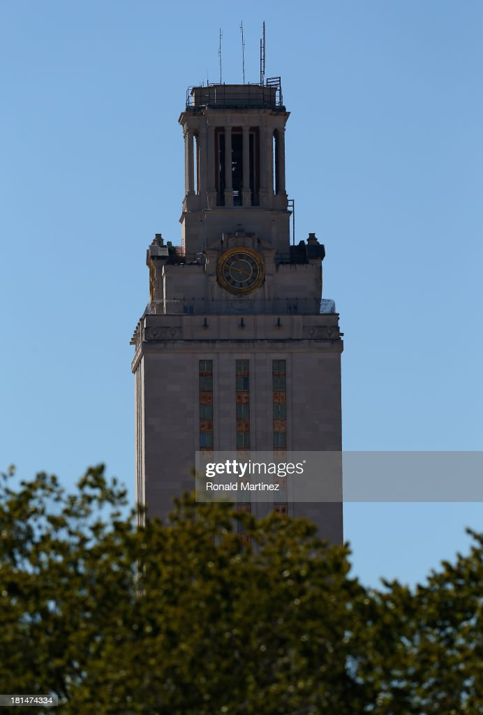 General view of the University of Texas Tower on the University of Texas campus on September 21 2013 in Austin Texas