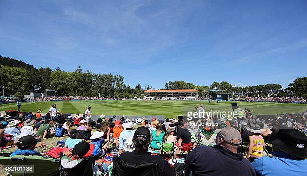 A general view of the University Oval Dunedin during the One Day International match between New Zealand and Sri Lanka at University Oval on January...