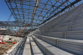 A general view of the upperdeck being installed at Red Bull Arena which is currently under construction on May 19 2009 in Harrison New Jersey Red...