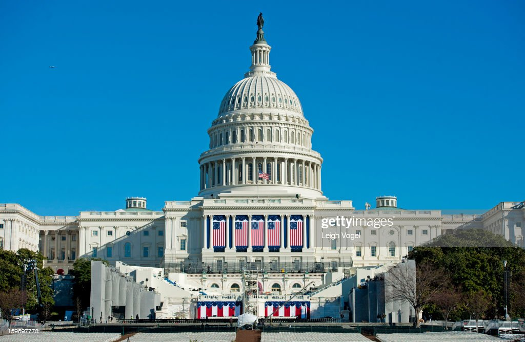 General view of the US Capitol during prepartions for the swear-in ceremony at the 57th Presidential Inauguration on January 18, 2013 in Washington, United States.