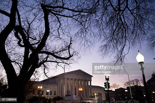 A general view of the US Supreme Court where a private memorial service will be held for Justice Antonin Scalia at the court building on February 19...
