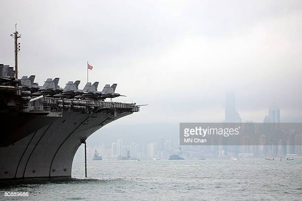 A general view of the USS Kitty Hawk at Victoria Harbour on April 28 2008 in Hong Kong China The battle carrier group made its first stop in Hong...