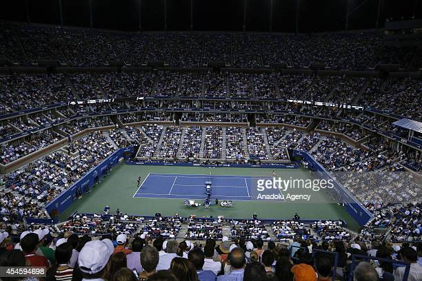 General view of the USTA Billie Jean King National Tennis Center is seen during women's singles quarterfinal match between Flavia Pennetta of Italia...