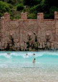 A general view of the Valley of the Waves at the The Palace of the Lost City Hotel within the Sun City Resort which is rumoured to be the base of the...