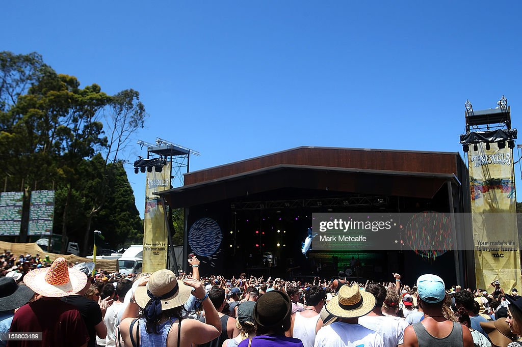A general view of the Valley Stage as Ball Park Music perform on stage at The Falls Music and Arts Festival on December 30, 2012 in Lorne, Australia.