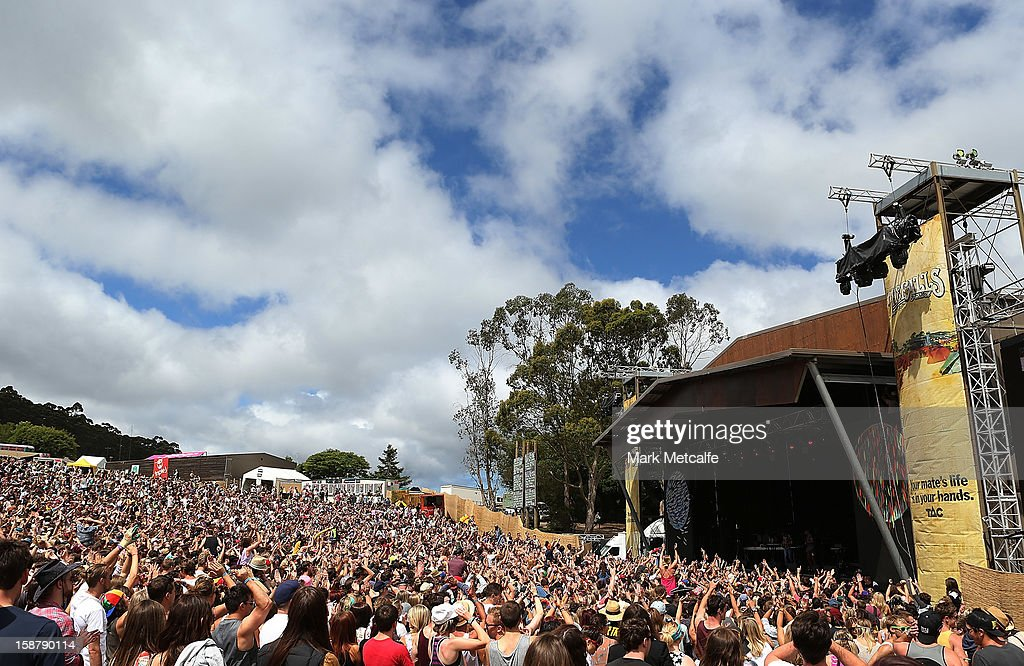 A general view of The Valley Stage at The Falls Music and Arts Festival on December 29, 2012 in Lorne, Australia.