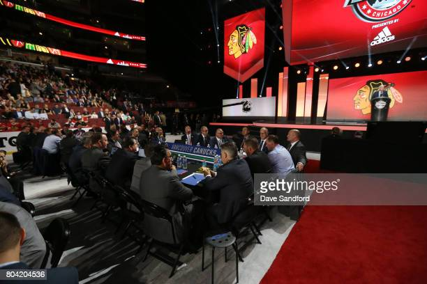 A general view of the Vancouver Canucks draft table is seen during Round One of the 2017 NHL Draft at United Center on June 23 2017 in Chicago...