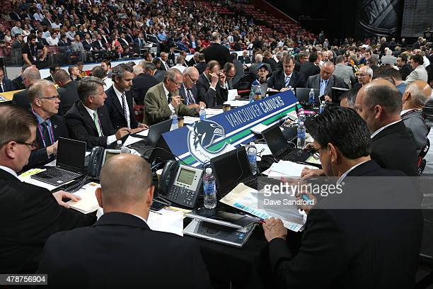 A general view of the Vancouver Canucks draft table is seen during the 2015 NHL Draft at BBT Center on June 27 2015 in Sunrise Florida