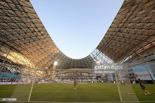A General view of the velodrome stadium taken before the start of a French L1 football match between Marseille and Guingamp at the Velodrome stadium...