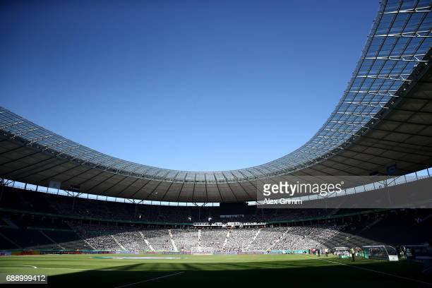 A general view of the venua is seen prior to the DFB Cup Final 2017 between Eintracht Frankfurt and Borussia Dortmund at Olympiastadion on May 27...
