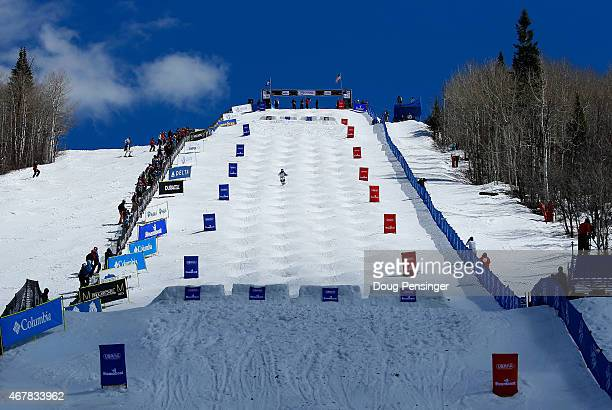 A general view of the venue during the moguls competition at the 2015 US Freestyle Ski Championships at the Steamboat Ski Resort on March 27 2015 in...