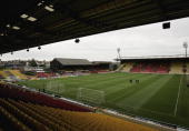 A general view of the Vicarage Road stadium home of Watford FC and Saracens Rugby during the Barclays Premiership match between Watford and Tottenham...