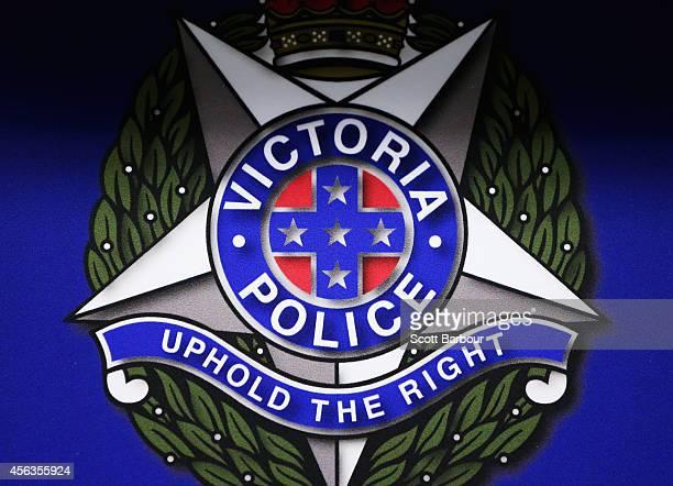 A general view of the Victoria Police emblem during a press conference about the terrorism raids that took place in Melbourne this morning at...