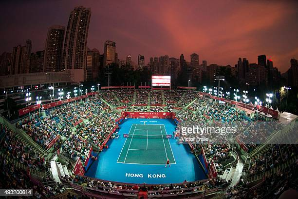 General view of the Victorial Park stadium during the WTA Prudential Hong Kong Open final between Jelena Jankovic of Serbia and Angelique Kerber of...