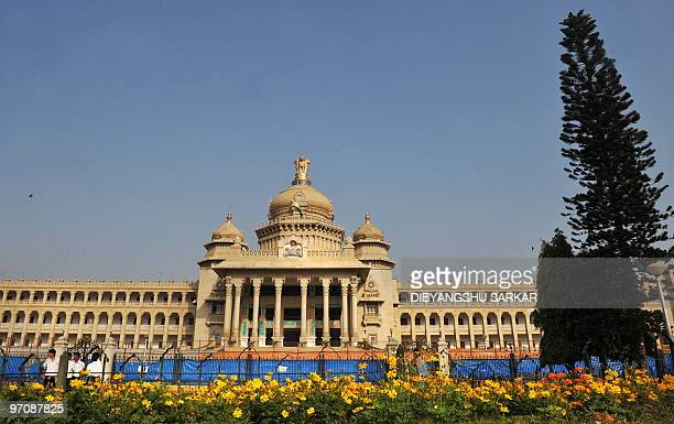 A general view of the Vidhana Soudha building in Bangalore on February 26 2010 Vidhana Soudha houses the Legislaive Chambers of the state government...
