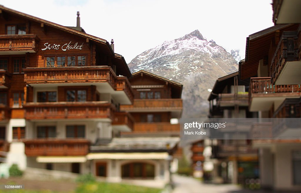 A general view of the village is seen with the Alps in the background on May 27, 2010 in Saas-Fee, Switzerland.
