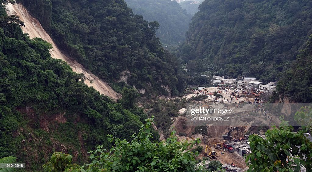 General view of the village of El Cambray II in Santa Catarina Pinula municipality some 15 km east of Guatemala City taken on October 2 2015 after a...