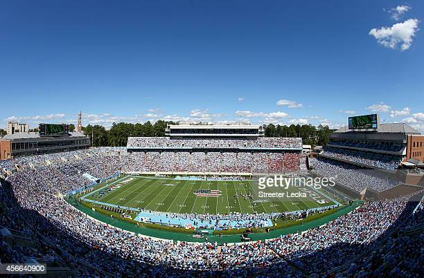 A general view of the Virginia Tech Hokies versus North Carolina Tar Heels during their game at Kenan Stadium on October 4 2014 in Chapel Hill North...