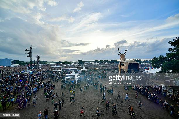 General view of the Wacken Open Air festival on August 4 2016 in Wacken Germany Wacken is a village in northern Germany with a population of 1800...