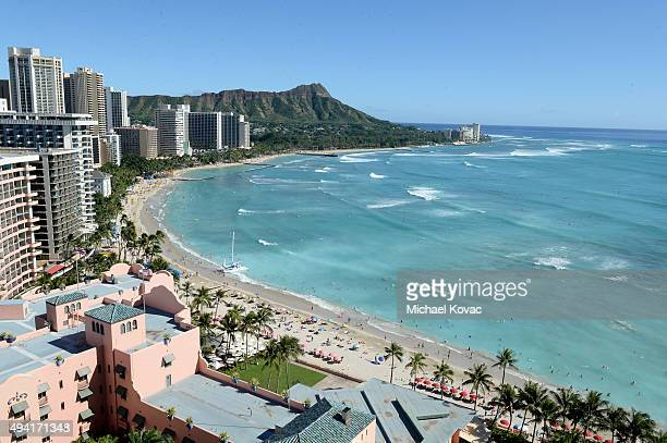 General view of the Waikiki beach shoreline at the 6th Annual Hawaii European Cinema Film Festival Awards Gala at The Moana Surfrider on October 23...