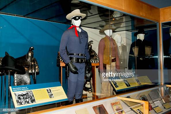 A general view of the Walt Disney costumes loans from 'The Lone Ranger' at the Autry National Center of the American West on November 22 2013 in Los...