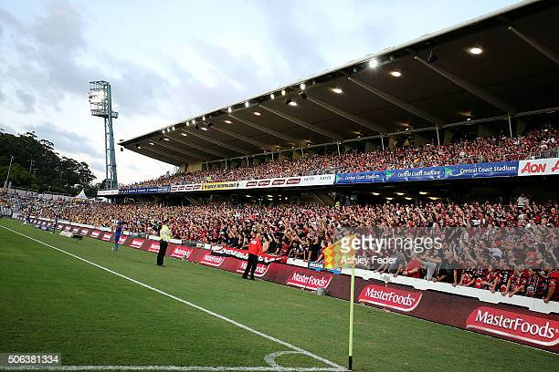 General View of the Wanderers fans at Central Coast Stadium during the round 16 ALeague match between the Central Coast Mariners and the Western...