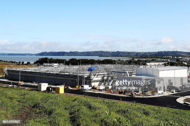 A general view of the Watercare Mangere Wastewater Treatment Plant Extension on September 21 2017 in Auckland New Zealand Earthworks began in late...