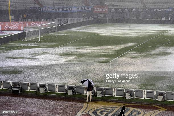 General view of the waterlogged pitch after the match between Argentina and Brazil as part of FIFA 2018 World Cup Qualifiers is suspended due to bad...